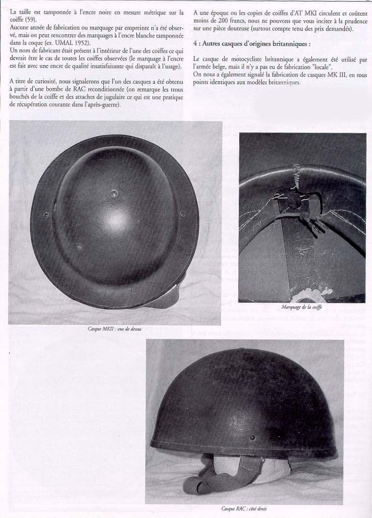 Article casques Belges.