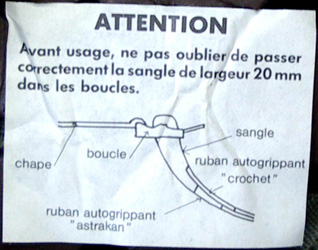 Instruction de réglage.