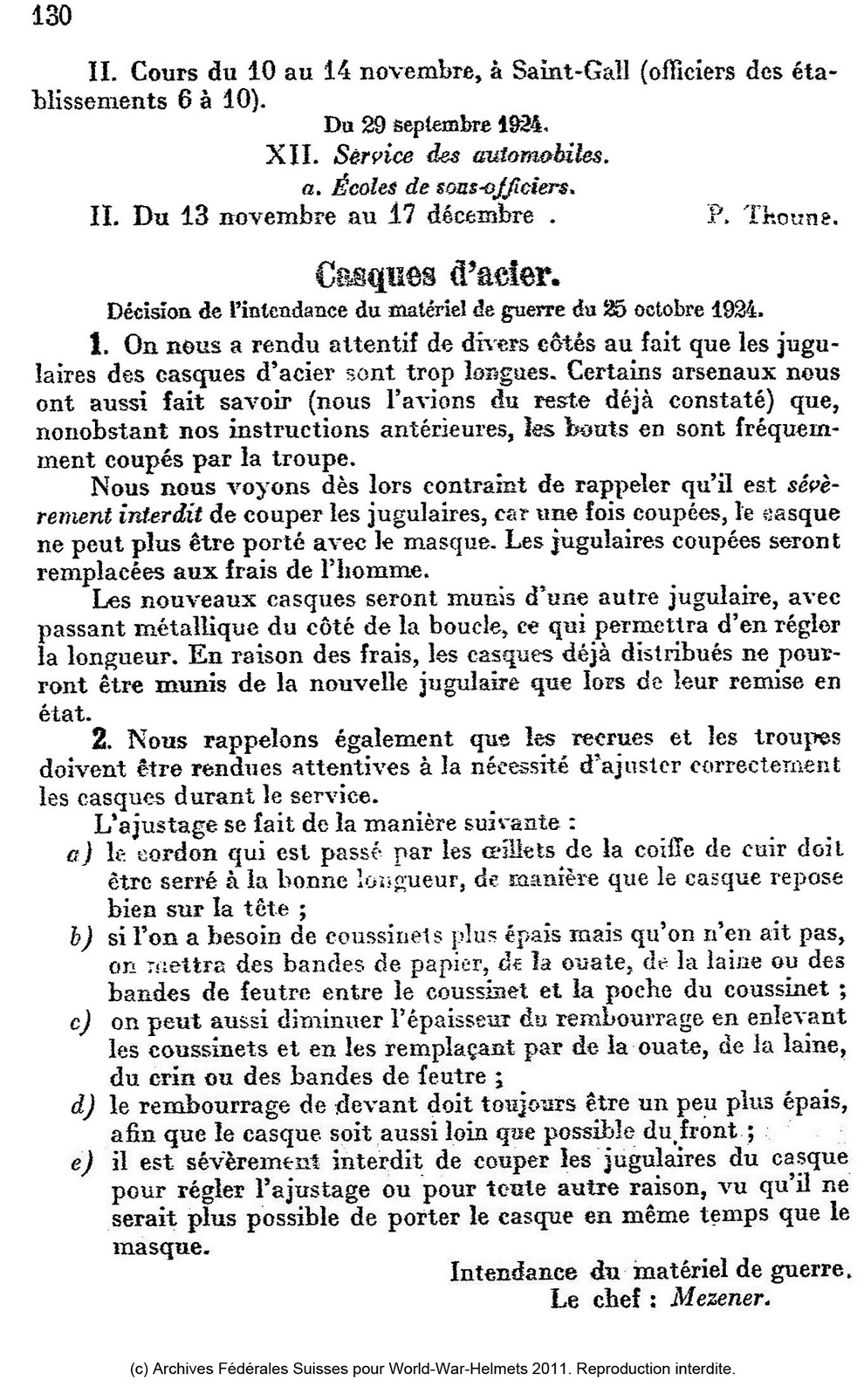 Note du KTA de 1924 - jugulaire.