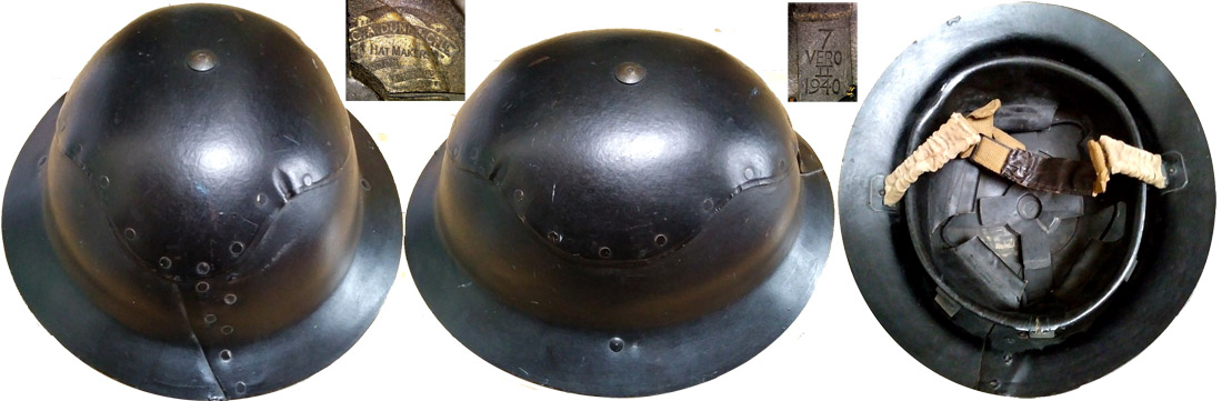 Casque de protection en fibres type Cromwell Protector, distribué par G.A. Dunn & Co.