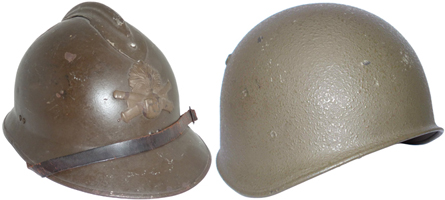 Casque Adrian modèle 26 et casque suisse modèle 71