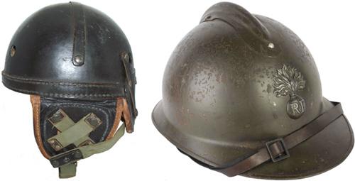 Casque Adrian modèle 23 et casque belge de tankiste